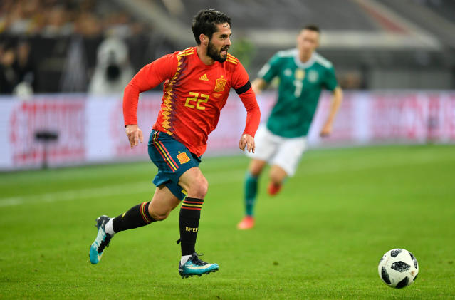 FILE - In this Friday, March 23, 2018 file photo, Spain's Francisco Isco Alarcon plays during an international friendly soccer match between Germany and Spain in Duesseldorf, Germany. (AP Photo/Martin Meissner, File)