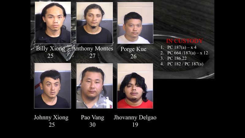 A photo of arrested suspects linked to a November shooting in Fresno