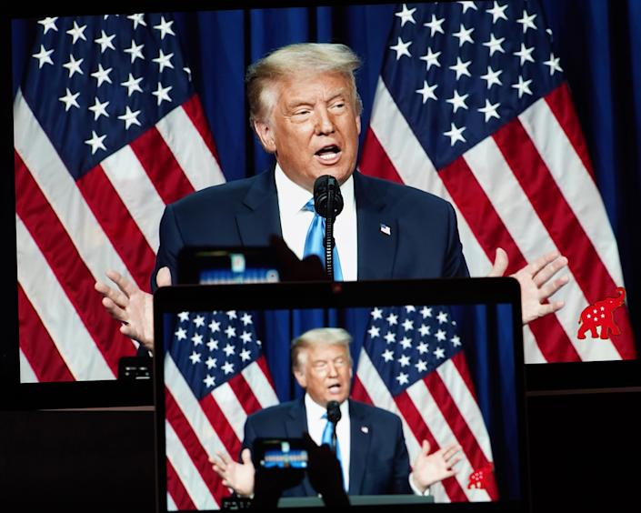 President Trump speaks Monday during the 2020 Republican National Convention in Charlotte, N.C. (Liu Jie/Xinhua via Getty Images)