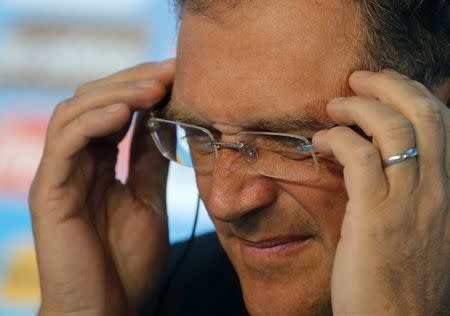 FIFA Secretary General Valcke listens to a question during a news conference ahead of the 2014 World Cup, in Rio de Janeiro