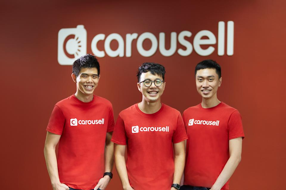 Carousell co-founders (from left) Quek Siu Rui, Marcus Tan and Lucas Ngoo. (PHOTO: Carousell)