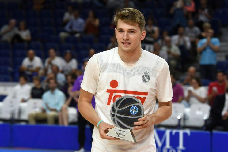Luka Doncic accepts his award as Europe's best young player three months removed from 18th birthday. (Getty Images)