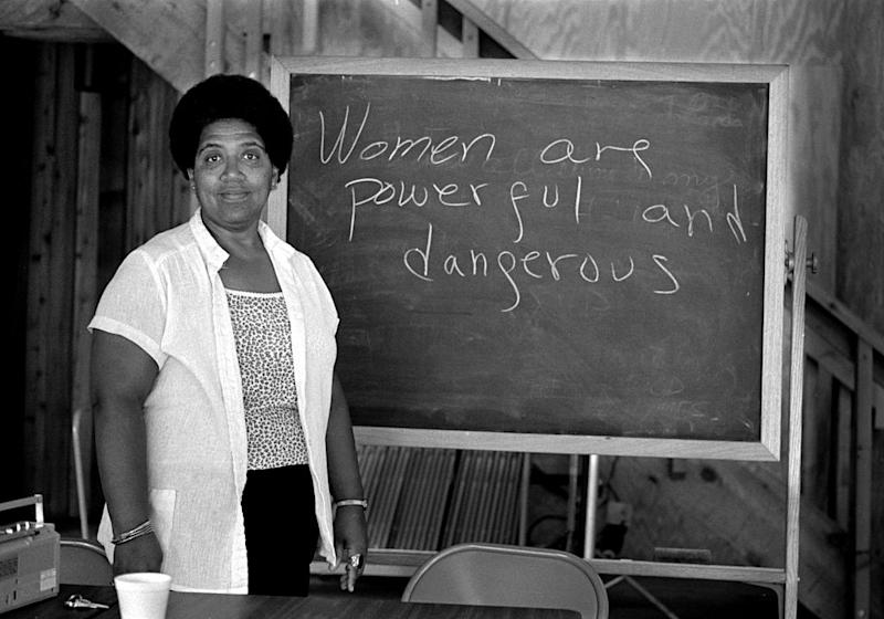 African-American writer, feminist, poet and civil-rights activist Audre Lorde (1934-1992) poses for a photograph during her 1983 residency at the Atlantic Center for the Arts in New Smyrna Beach, Florida. | Robert Alexander—Getty Images