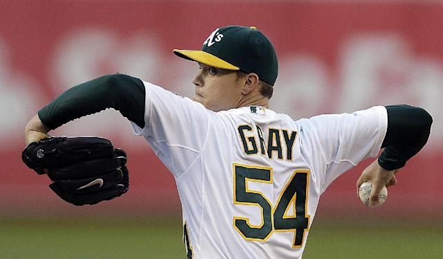 Oakland Athletics' Sonny Gray works against the San Francisco Giants in the first inning of a baseball game Tuesday, July 8, 2014, in Oakland, Calif. (AP Photo/Ben Margot)