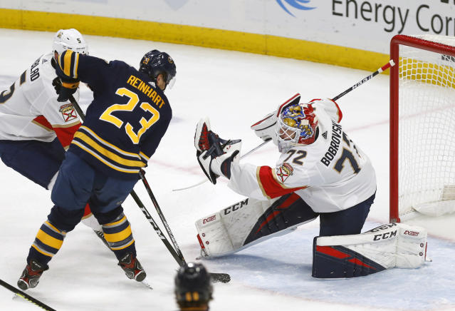 Buffalo Sabres forward Sam Reinhart (23) is stopped by Florida Panthers goalie Sergei Bobrovsky (72) during the first period of an NHL hockey game, Friday, Oct. 11, 2019, in Buffalo N.Y. (AP Photo/Jeffrey T. Barnes)