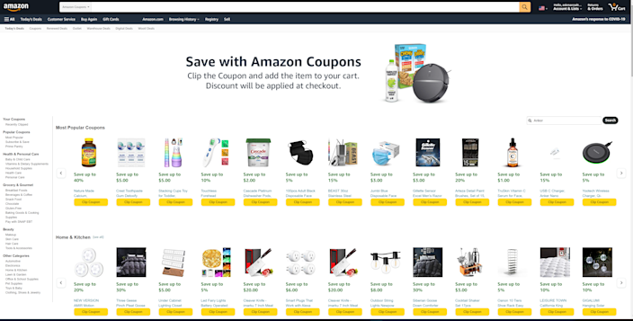 Yes, Amazon, has a Coupons section. Virtually clip coupons for instant discounts on what you're buying, by firs searching by keyword or browsing by category to find what you're looking for.