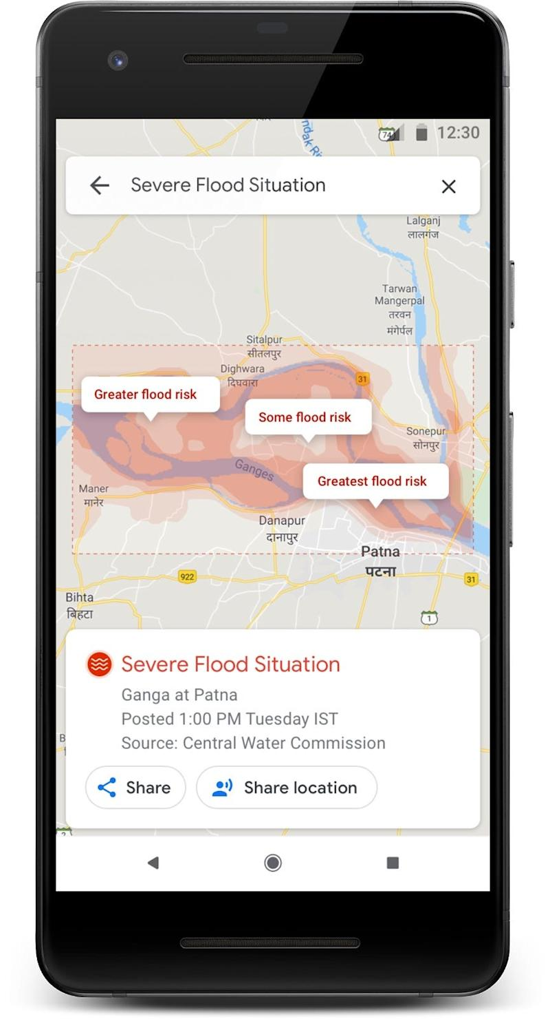 Flood zones shown in Google Maps