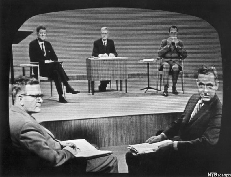 Nixon and Kennedy prepare for their first TV debate, September 1960 (Supplier NTB scanpix/The Granger Collection)