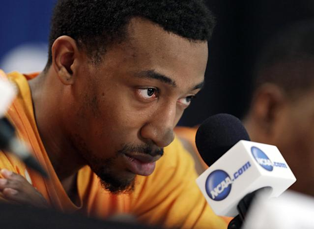 Tennessee's Jordan McRae listens to a question during a news conference at an NCAA college basketball tournament in Raleigh, N.C., Saturday, March 22, 2014. Tennessee plays Mercer in a third-round game on Sunday. (AP Photo/Chuck Burton)