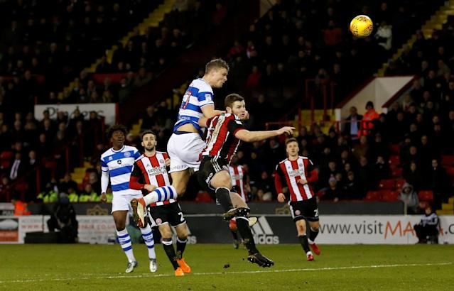 "Soccer Football - Championship - Sheffield United vs Queens Park Rangers - Bramall Lane, Sheffield, Britain - February 20, 2018 Queens Park Rangers' Matt Smith shoots at goal Action Images/Ed Sykes EDITORIAL USE ONLY. No use with unauthorized audio, video, data, fixture lists, club/league logos or ""live"" services. Online in-match use limited to 75 images, no video emulation. No use in betting, games or single club/league/player publications. Please contact your account representative for further details."