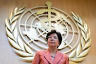 World Health Organization (WHO) chief Margaret Chan leaves the floor after delivering her speech during the World Health Assembly in Geneva, on May 23, 2016 (AFP Photo/Fabrice Coffrini)