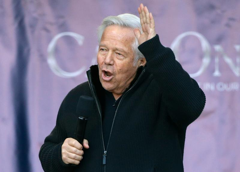 New England Patriots owner Robert Kraft addresses the crowd during an NFL football Super Bowl send-off rally for the team, Sunday, Jan. 27, 2019, in Foxborough, Mass. The Los Angeles Rams are to play the Patriots in Super Bowl 53 on Feb. 3, in Atlanta, Ga. (AP Photo/Steven Senne)