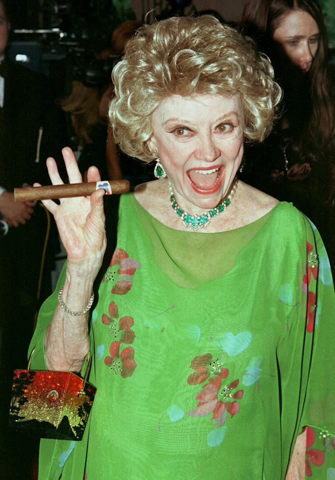 Comedienne Phyllis Diller arrives for a gala party celebrating comedian [Milton Berle's] 90th birthday July 12, 1998 at the Beverly Hills Hotel. REUTERS/Fred Prouser