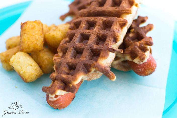 """<p>Corn dogs meets hot dog in this wonderful waffle creation.</p><p>Get the recipe from <a rel=""""nofollow noopener"""" href=""""http://www.guavarose.com/2011/10/waffle-dogs-4/"""" target=""""_blank"""" data-ylk=""""slk:Guava Rose"""" class=""""link rapid-noclick-resp"""">Guava Rose</a>.</p>"""