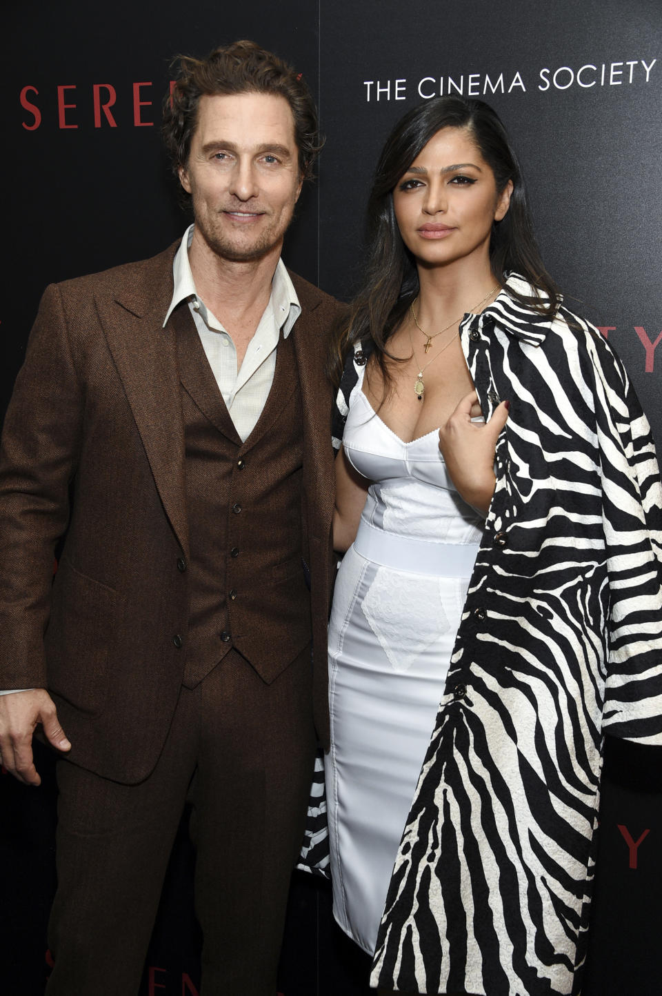 "Actor Matthew McConaughey and wife Camila Alves attend a special screening of ""Serenity"" at the Museum of Modern Art on Wednesday, Jan. 23, 2019, in New York. (Photo by Evan Agostini/Invision/AP)"