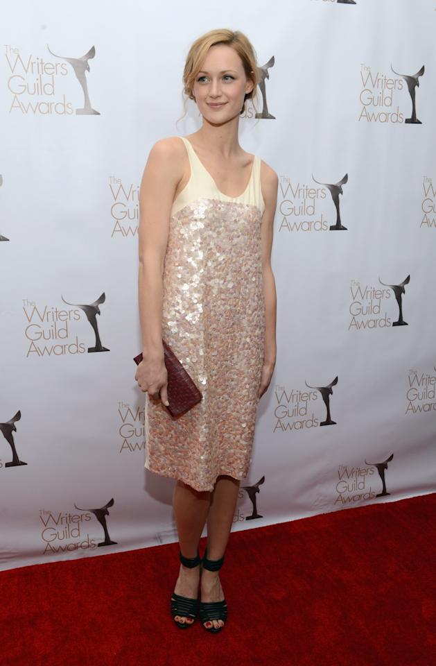 LOS ANGELES, CA - FEBRUARY 17:  Actress Kerry Bishe arrives at the 2013 WGAw Writers Guild Awards at JW Marriott Los Angeles at L.A. LIVE on February 17, 2013 in Los Angeles, California.  (Photo by Jason Kempin/Getty Images for WGAw)