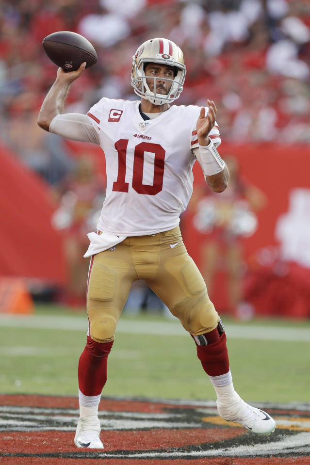 San Francisco 49ers quarterback Jimmy Garoppolo (10) runs out of the pocket against the Tampa Bay Buccaneers during the second half an NFL football game, Sunday, Sept. 8, 2019, in Tampa, Fla. (AP Photo/Chris O'Meara)