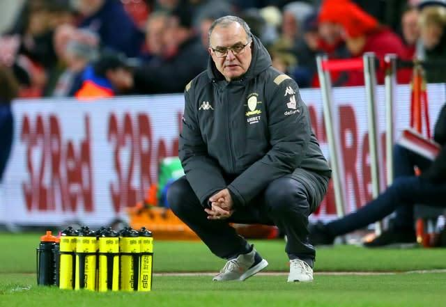 Leeds manager Marcelo Bielsa will want to ensure his side get over the line this time around (Richard Sellers/PA)