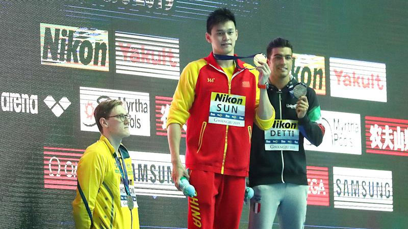 Australia's silver medallist Mack Horton refused to share the podium with Sun Yang. Pic: Getty