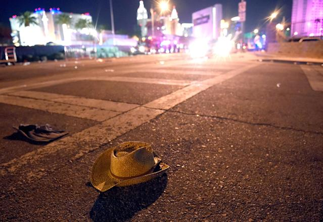 A cowboy hat lays in the street after shots were fired near a country music festival on Sunday in Las Vegas. (David Becker via Getty Images)