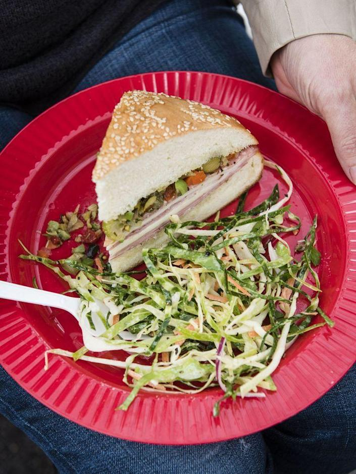 """<p>Bring freshness and crunch to any tailgate plate.</p><p><span class=""""redactor-invisible-space""""><a href=""""https://www.womansday.com/food-recipes/food-drinks/recipes/a56188/spicy-slaw-recipe/"""" rel=""""nofollow noopener"""" target=""""_blank"""" data-ylk=""""slk:Get the Spicy Slaw recipe."""" class=""""link rapid-noclick-resp""""><em>Get the Spicy Slaw recipe.</em></a></span></p>"""