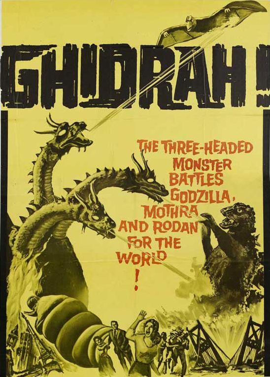 The poster for 1964's <i>Ghidora: The Three-Headed Monster</i>, which pitted Earth's Godzilla, Rodan, and Mothra against space invader King Ghidora. (Image: Toho)