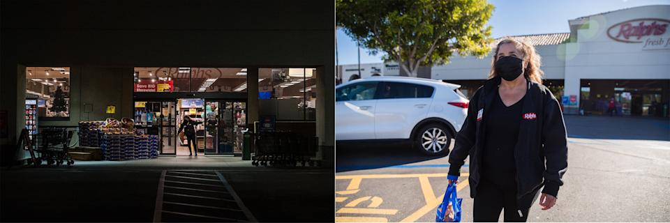 Salorio, a front-end manager, closes the doors at the beginning of her 1 a.m. work shift in San Diego on Dec. 21. At right, Salorio leaves Ralphs after working 10½ hours. (Photo: Ariana Drehsler for HuffPost)