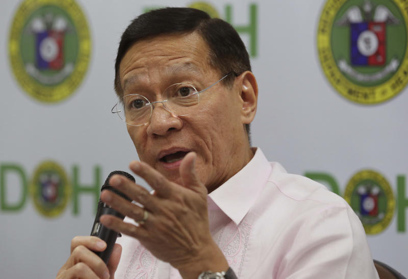 File Photo: Philippine Health Secretary Francisco Duque III gestures as he answers questions from reporters in Manila, Philippines. (AP Photo/Aaron Favila)