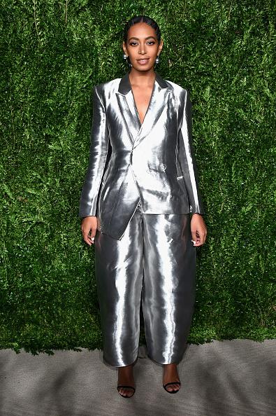 """<p>The singer was excited to wear her metallic silver Off-White suit to the event. """"I've actually been keeping this outfit in my mental Rolodex of things to wear in the future since the Met Gala in May. I'm so happy I finally found the right occasion to wear it,"""" she told <em>Vogue</em>. (Photo: Getty Images) </p>"""