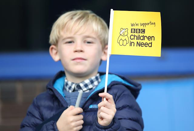 A fan shows support for 'Children in Need' prior to a Premier League match between Everton FC and West Ham United on October 19, 2019 (Photo by Ian MacNicol/Getty Images)