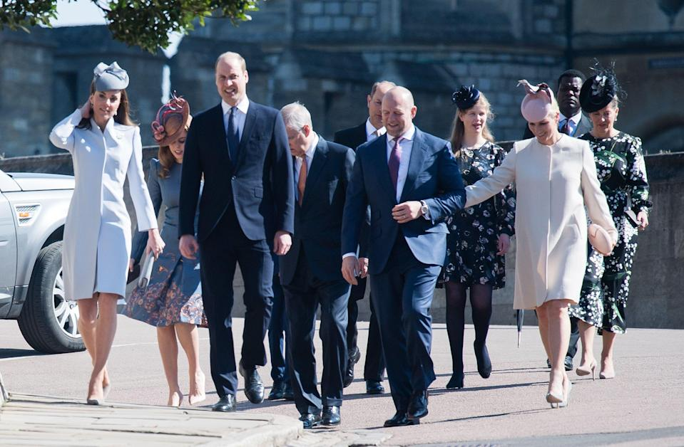 The Duke and Duchess of Cambridge and Mike and Zara Tindall attend the Easter Sunday service at St George's Chapel, Windsor [Photo: Getty]