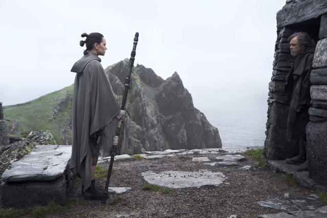 Daisy Ridley as Rey and Mark Hamill as Luke Skywalker in <em>Star Wars: The Last Jedi</em> (Photo: Jonathan Olley/Lucasfilm Ltd.)