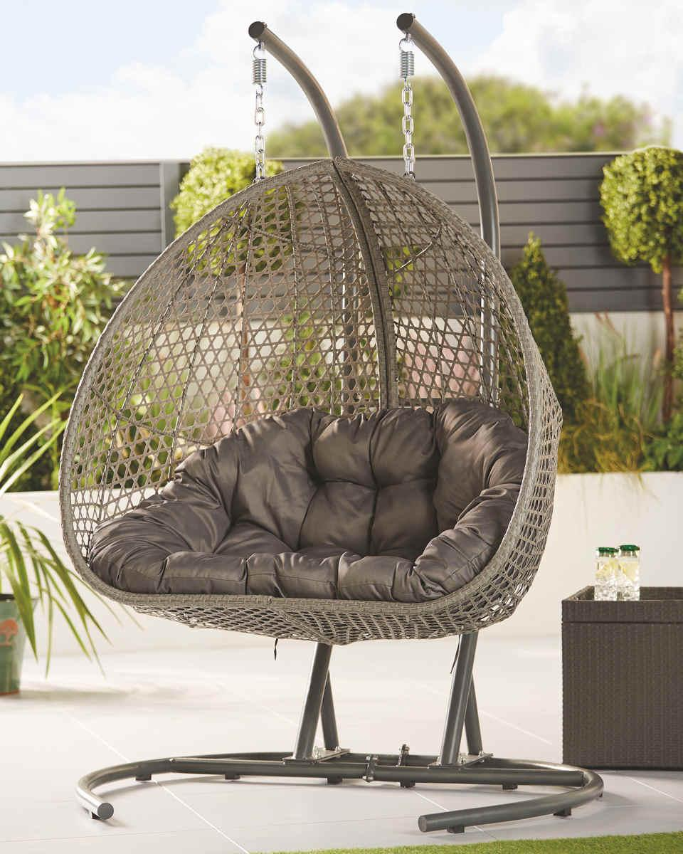 The double Gardenline Large Hanging Egg Chair. (Aldi)