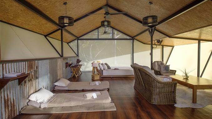 This isn't your ordinary tent though. A chef prepares meals which are brought to the couple and it features an eco-suite bathroom.