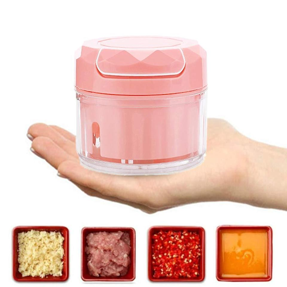 "<h3><a href=""https://amzn.to/38VFQAq"" rel=""nofollow noopener"" target=""_blank"" data-ylk=""slk:Bell Dream Mini Food Processor"" class=""link rapid-noclick-resp"">Bell Dream Mini Food Processor<br></a></h3> <br>Every recipe needs a food processor these days and, quite frankly, lugging a huge one in and out of the cupboard where it takes up loads of space is far from ideal. This mini chopper-pulser-gadget won't lend itself to much if you're blending soup but it'll do just fine for pesto, hummus, coffee beans, and more.<br><br><br><br><br><strong>Bell Dream</strong> Mini Food Processor, $, available at <a href=""https://amzn.to/2DL0x6D"" rel=""nofollow noopener"" target=""_blank"" data-ylk=""slk:Amazon"" class=""link rapid-noclick-resp"">Amazon</a><br><br><br><br>"