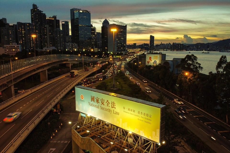 A large banner promoting the national security law is seen in Quarry Bay. Photo: Sun Yeung