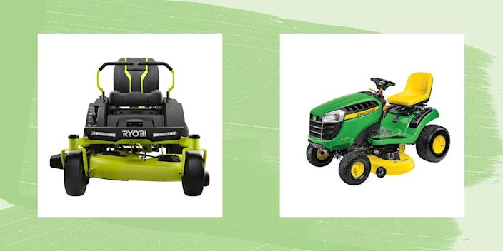 """<p>If you've got less than half an acre, chances are a <a href=""""https://www.countryliving.com/gardening/garden-ideas/g36717709/best-electric-lawn-mowers/"""" rel=""""nofollow noopener"""" target=""""_blank"""" data-ylk=""""slk:push mower"""" class=""""link rapid-noclick-resp"""">push mower</a> is what you want. But if you're dealing with a larger lawn, you're going to need something with a little more power. That's where riding lawn mowers come in. Nowadays riding lawn mowers come in both gas and electric models—and there are advantages and drawbacks to both. Look for a mower that fits both your lifestyle and your lawn-style: Get a zero-turn if you've got lots of trees or obstacles, go for a riding mower if you want the look and feel of a tractor.</p>"""