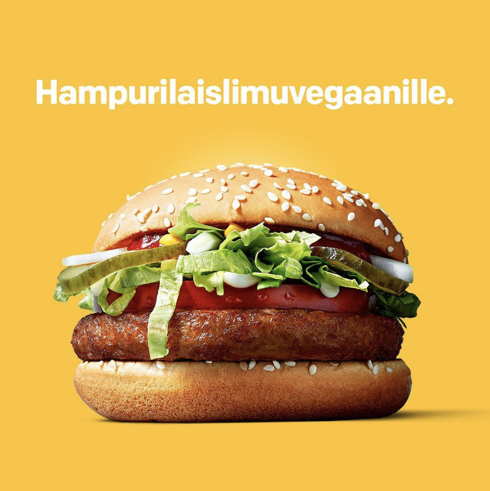 McDonals are trialling a vegan burger. [Photo: Mcdonaldssuomi/ Instagram]