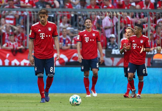 Soccer Football - Bundesliga - Bayern Munich v VfB Stuttgart - Allianz Arena, Munich, Germany - May 12, 2018 (L - R) Bayern Munich's Javi Martinez, Mats Hummels, Rafinha and Thiago Alcantara react after conceding their fourth goal scored by Stuttgart's Daniel Ginczek REUTERS/Michael Dalder DFL RULES TO LIMIT THE ONLINE USAGE DURING MATCH TIME TO 15 PICTURES PER GAME. IMAGE SEQUENCES TO SIMULATE VIDEO IS NOT ALLOWED AT ANY TIME. FOR FURTHER QUERIES PLEASE CONTACT DFL DIRECTLY AT + 49 69 650050