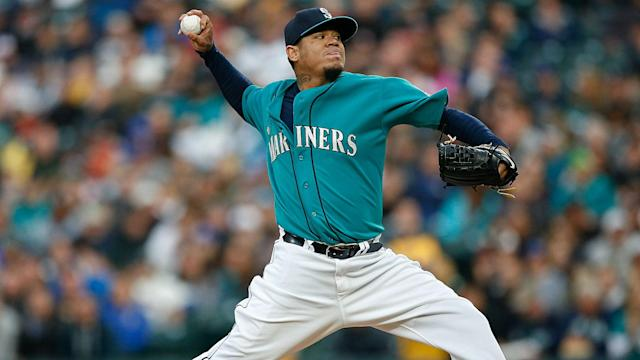 The Mariners ace left Monday's game after being struck in the pitching arm by a line drive, but X-rays later proved negative.