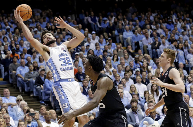 "<a class=""link rapid-noclick-resp"" href=""/ncaab/players/131183/"" data-ylk=""slk:Luke Maye"">Luke Maye</a> is returning to the University of North Carolina. (AP Photo/Gerry Broome)"