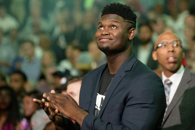 "Zion Williamson is ""itching"" to return to the court, but still hasn't resumed practices completely with the Pelicans after knee surgery. (AP/Matthew Hinton)"
