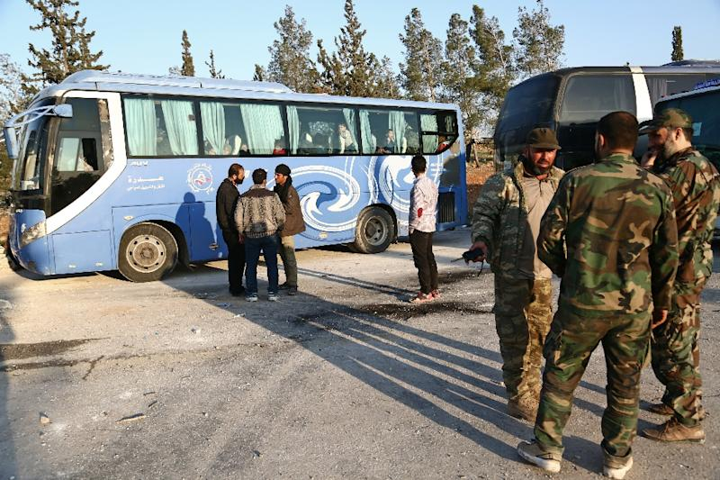 The last convoy of buses transporting members of Jaish al-Islam and their relatives left the town on Saturday (AFP Photo/Nazeer al-Khatib)