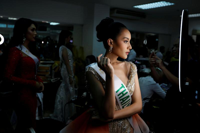 Kanwara Kaewjin of Thailand prepares backstage for the final show of the Miss International Queen 2019 transgender beauty pageant in Pattaya, Thailand, March 8, 2019. REUTERS/Jorge Silva TPX IMAGES OF THE DAY