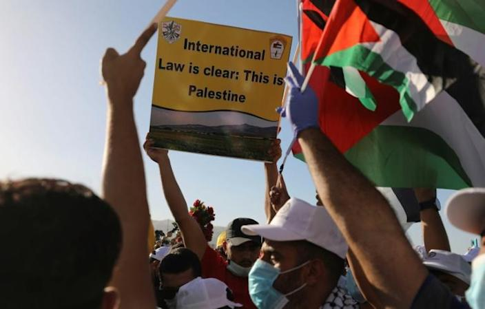 Palestinians rally to protest Israel's plan to annex parts of the occupied West Bank, including Jericho which could be cut off from the rest of the Palestinian territories (AFP Photo/ABBAS MOMANI)