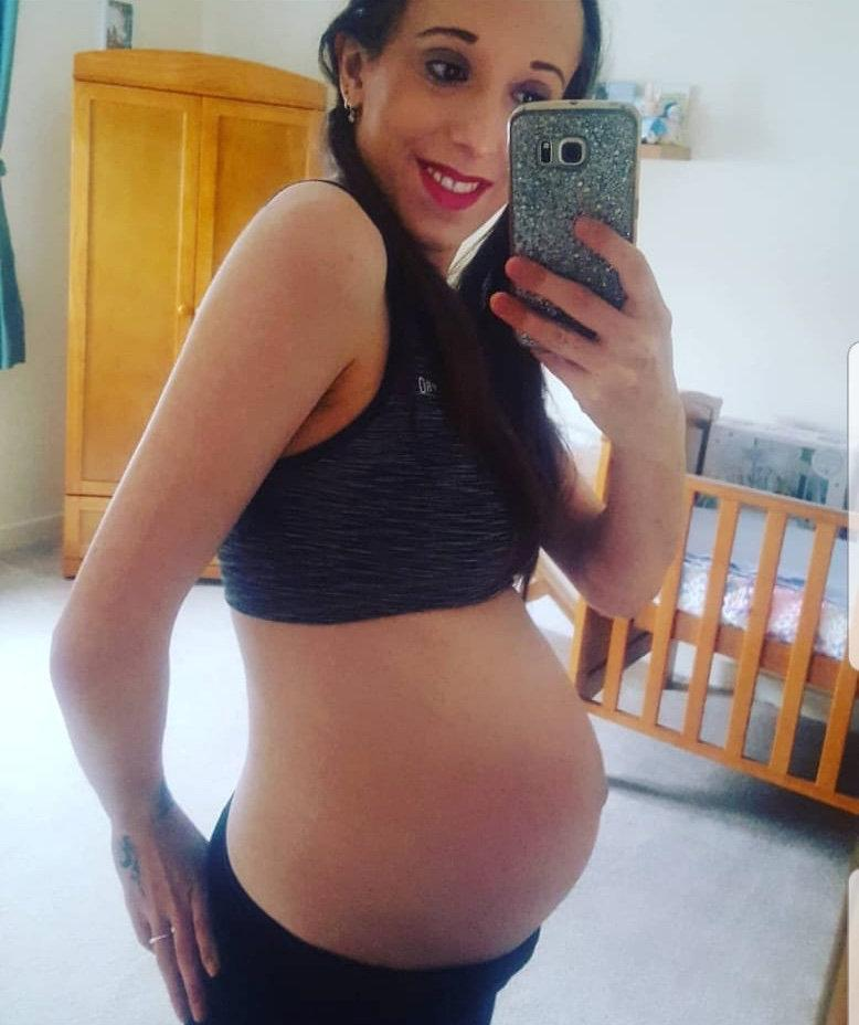 Louise Campbell while pregnant with her son, Michael. (Louise Campbell/SWNS)