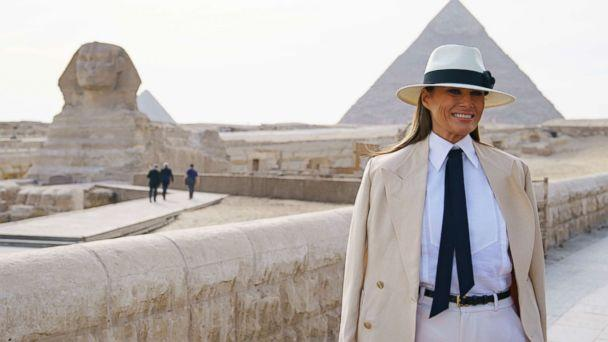 PHOTO: First lady Melania Trump visits the ancient statue of Sphinx, with the body of a lion and a human head, at the historic site of Giza Pyramids in Giza, near Cairo, Egypt, Oct. 6, 2018. (Carolyn Kaster/AP)