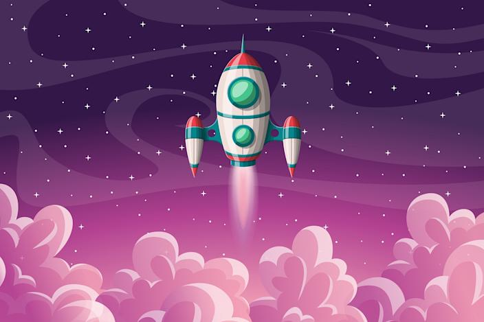Rocket launch with clouds and stars, vector illustration