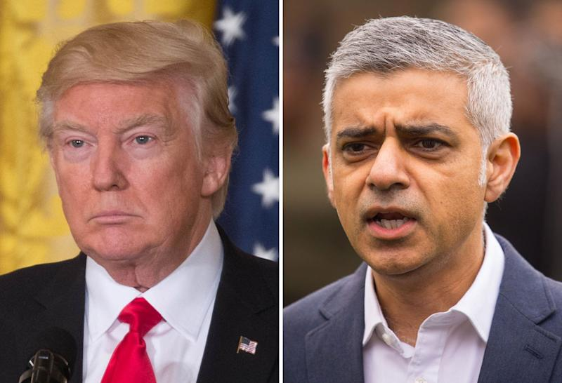 """File photos of Donald Trump (left) and Sadiq Khan, who said Mr Trump's """"cruel and shameful"""" policies mean he should not be granted a state visit, as MPs prepared to debate the US President's forthcoming trip to the UK."""