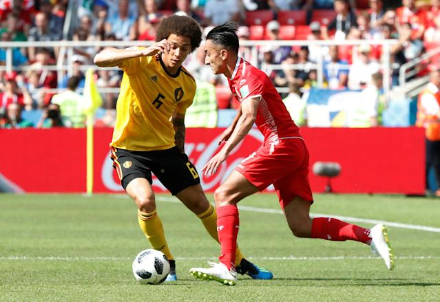 Soccer Football - World Cup - Group G - Belgium vs Tunisia - Spartak Stadium, Moscow, Russia - June 23, 2018 Belgium's Axel Witsel in action with Tunisia's Saif-Eddine Khaoui REUTERS/Grigory Dukor